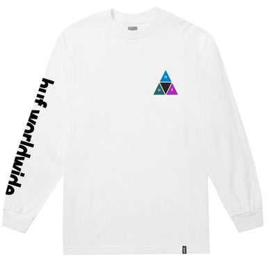 HUF PRISM TRIPLE TRIANGLE LONG SLEEVE T-SHIRT // WHITE