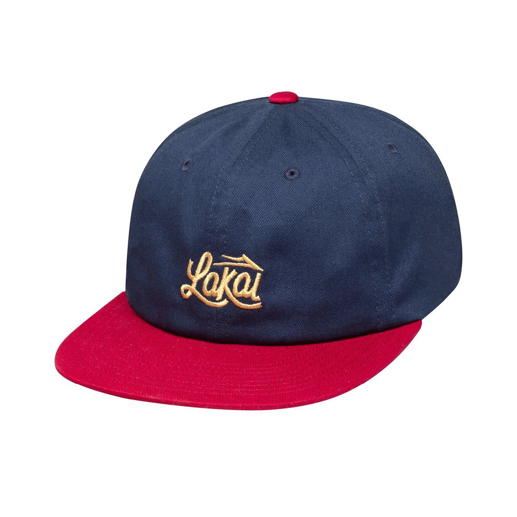 LAKAI SIGN POLO STRAPBACK HAT // NAVY/MAROON