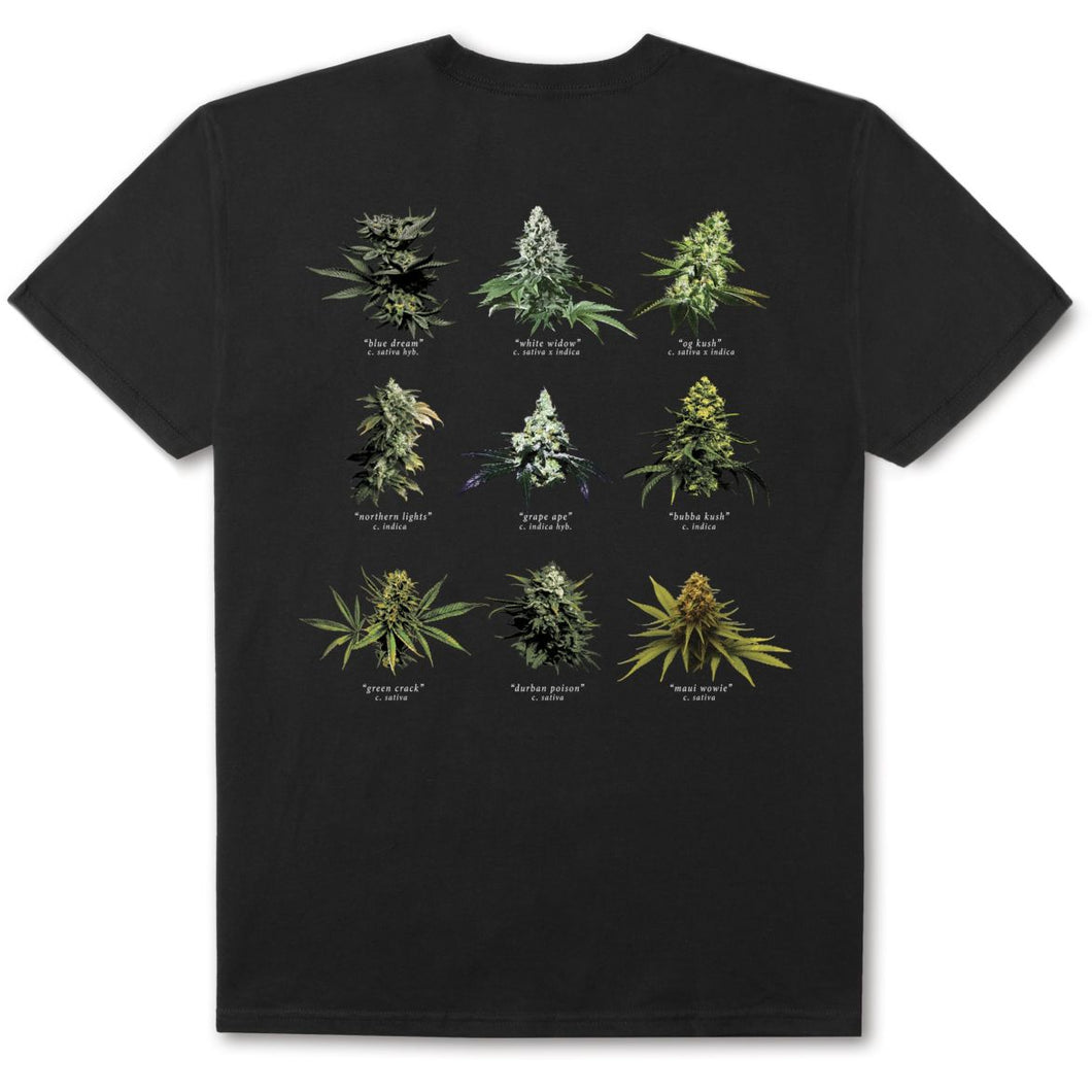 HUF SMOKERS LOUNGE STRAINS TEE // BLACK
