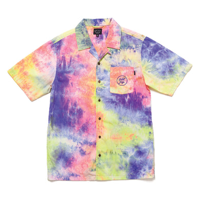 THE QUIET LIFE NEON TIE DYE SHORT SLEEVE BUTTON DOWN // TIE DYE