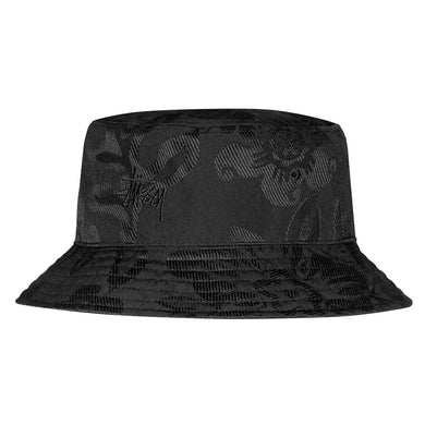 STÜSSY JACQUARD HAWAIIAN BUCKET HAT // BLACK