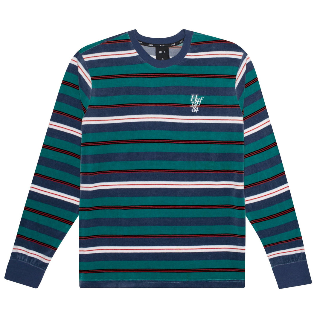 HUF UNVEIL STRIPE VELOUR LONG SLEEVE TOP // QUETZAL GREEN