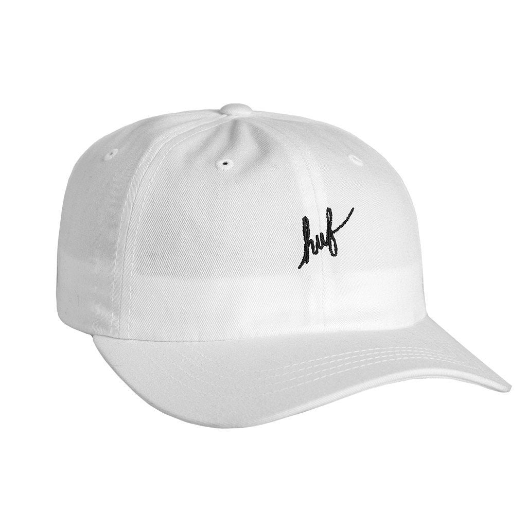HUF SCRIPT LOGO CURVE VISOR 6 PANEL // WHITE/BLACK-The Collateral