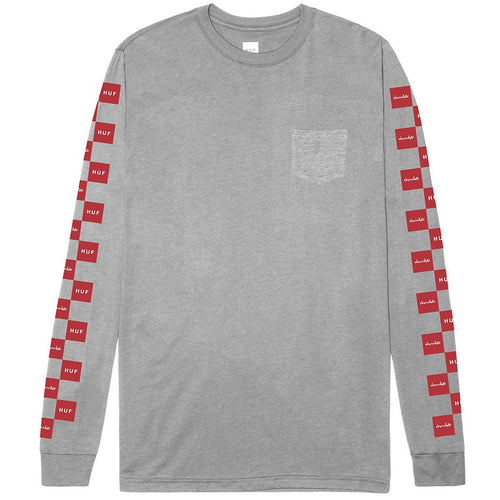 HUF X CHOCOLATE CHECKERED L/S POCKET TEE // GRAY HEATHER-The Collateral