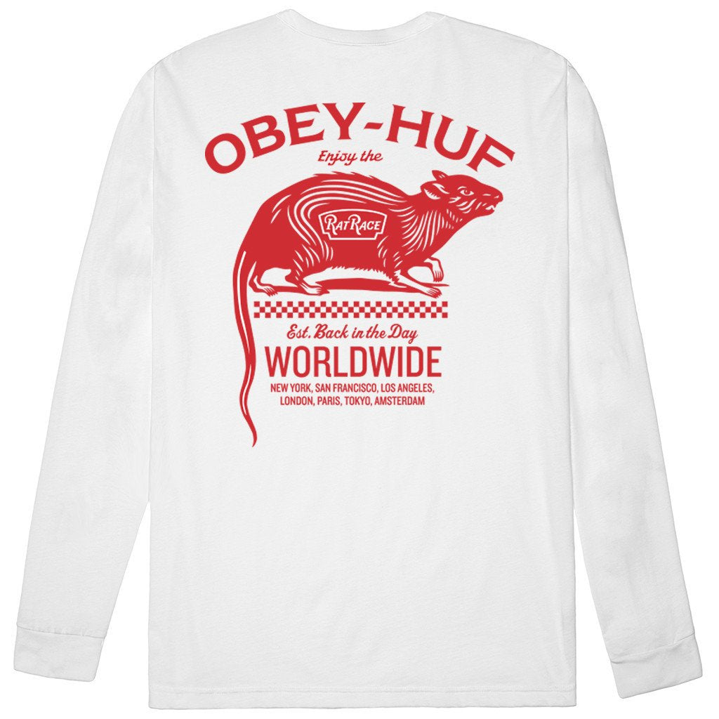 HUF X OBEY RAT RACE L/S // WHITE-The Collateral