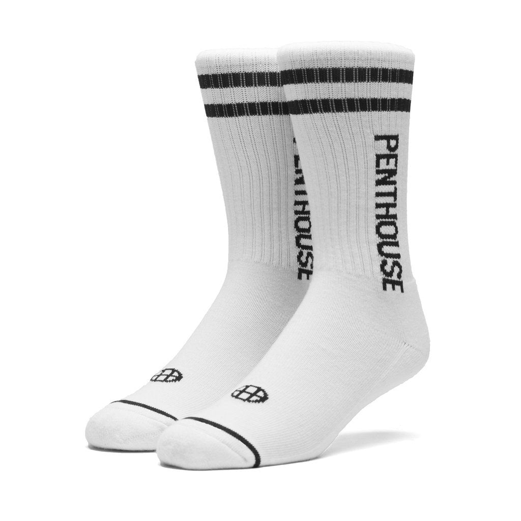 HUF X PENTHOUSE STRIPE CALF SOCKS \\ WHITE-The Collateral