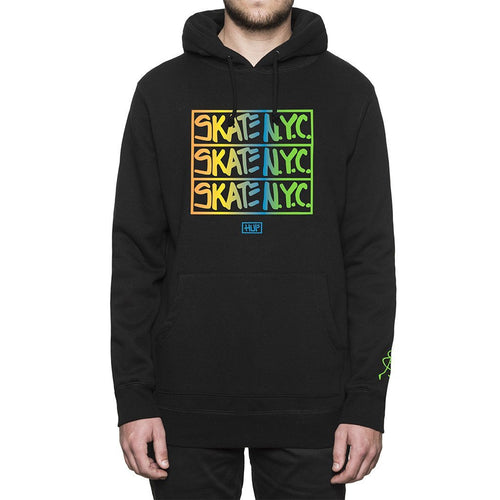 HUF X SKATE NYC HOODED FLEECE // BLACK-The Collateral