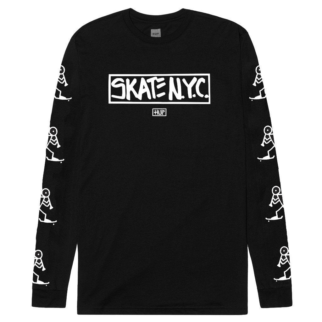 HUF X SKATE NYC LONG SLEEVE TEE // BLACK-The Collateral