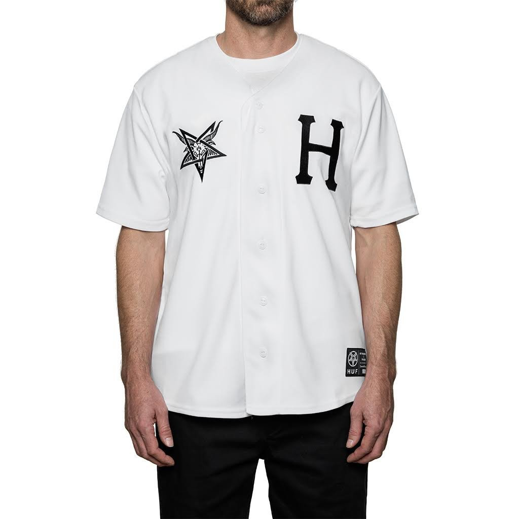 HUF X THRASHER BASEBALL JERSEY // WHITE-The Collateral