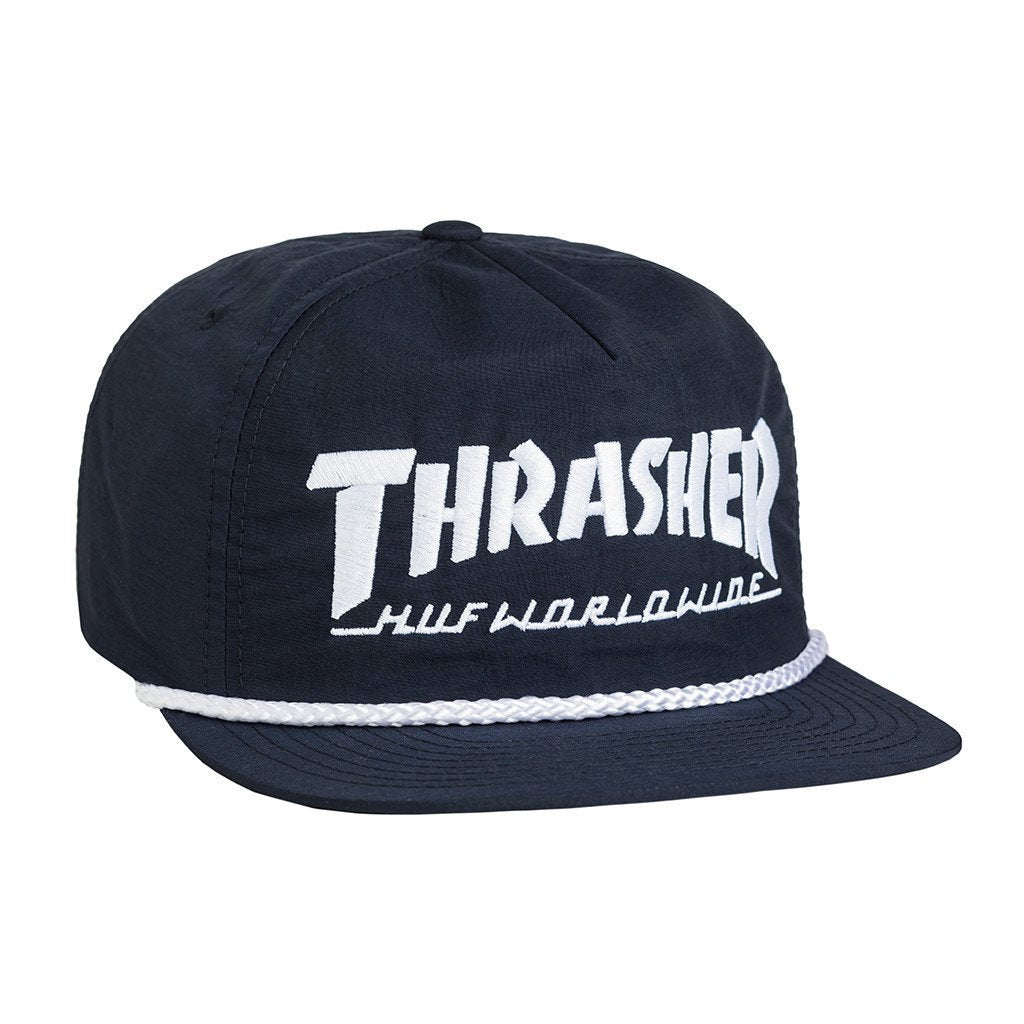HUF X THRASHER COLLAB LOGO SNAPBACK // NAVY-The Collateral