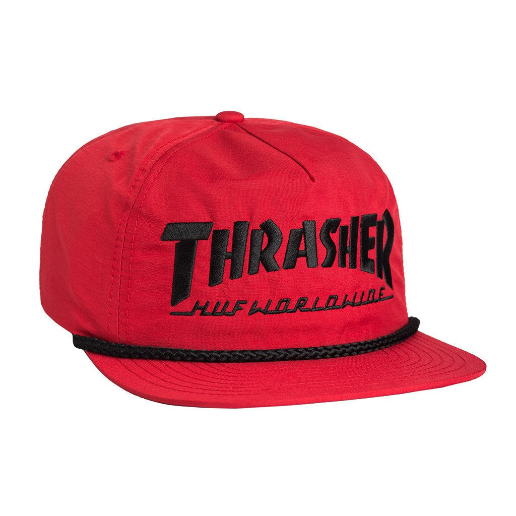 HUF X THRASHER COLLAB LOGO SNAPBACK // RED-The Collateral