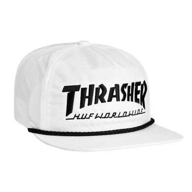 HUF X THRASHER COLLAB LOGO SNAPBACK // WHITE-The Collateral
