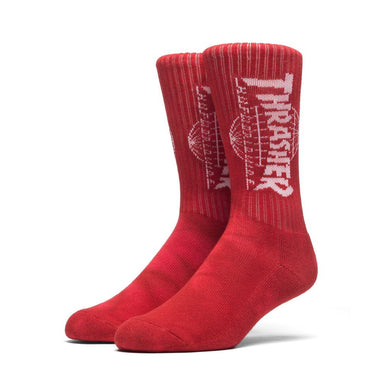 HUF X THRASHER TDS CRYSTAL WASH CREW SOCK \\ RED-The Collateral