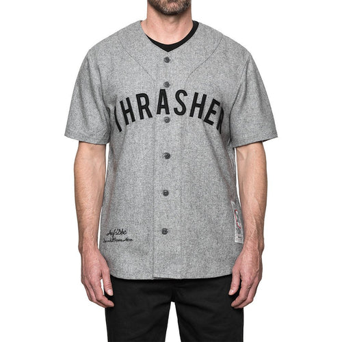 HUF X THRASHER VINTAGE BASEBALL JERSEY // GREY HEATHER-The Collateral