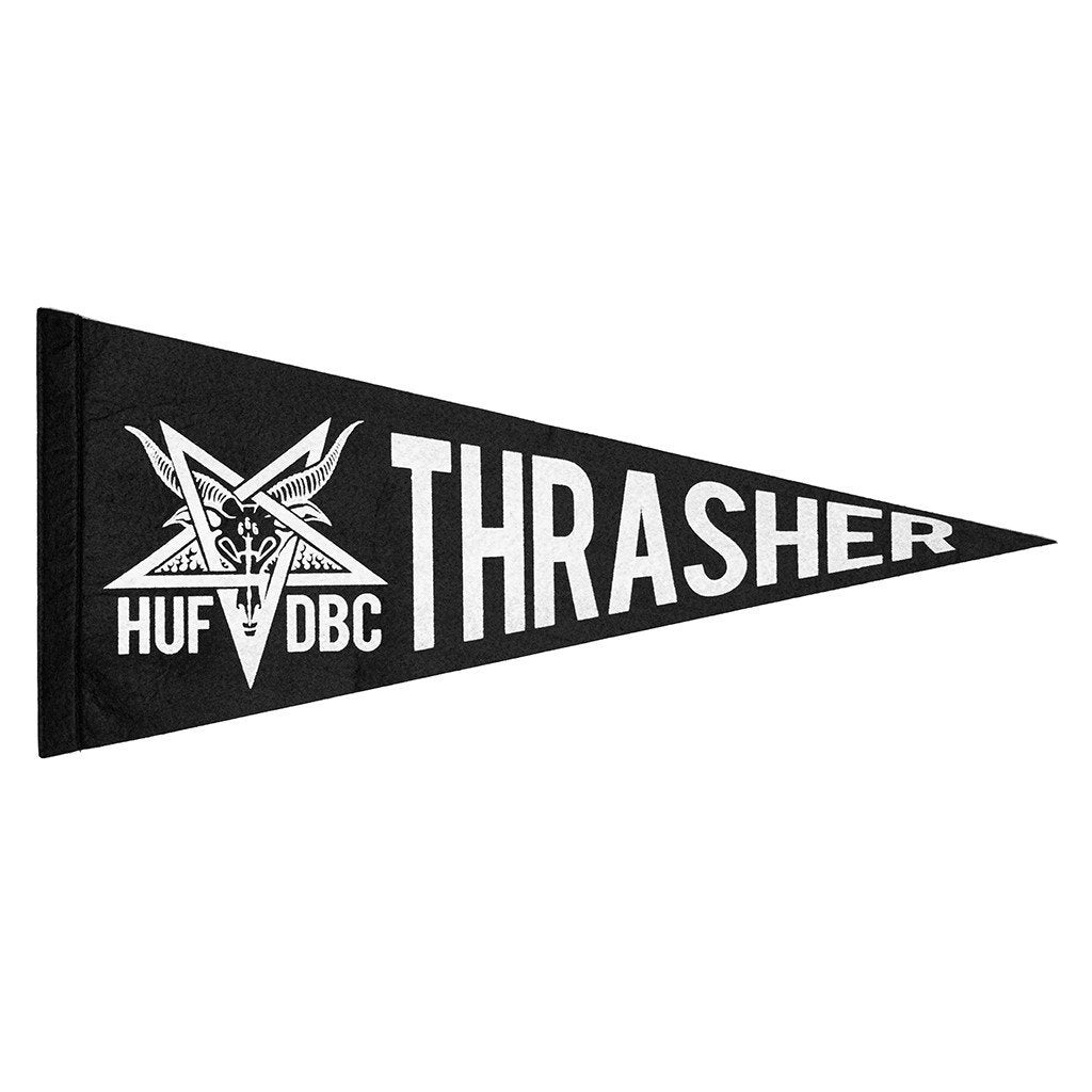 HUF X THRASHER VINTAGE FELT PENNANT // BLACK-The Collateral