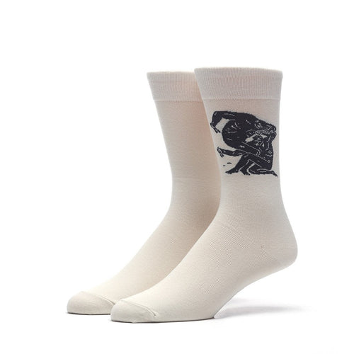 HUF X CLEON PETERSON CREW SOCKS // OFF WHITE