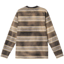 STÜSSY BLEACH STRIPE LS CREW // BLACK