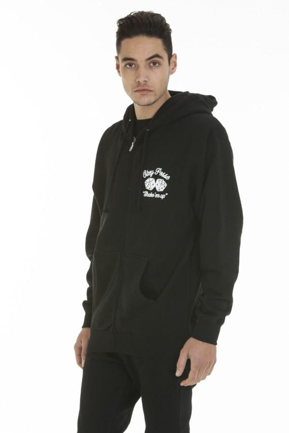OBEY SHAKE 'EM UP ZIP HOOD SWEATSHIRT BLACK-The Collateral