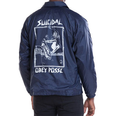 OBEY X SUICIDAL TENDENCIES POOL SKATER COACH JACKET // NAVY