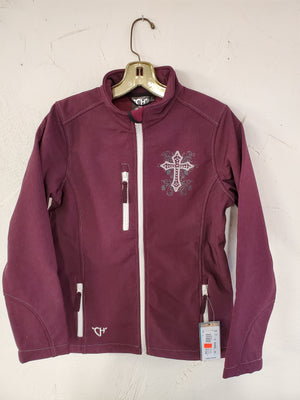 Cowgirl Hardware Blooming Cross Softshell Jacket, Pinot