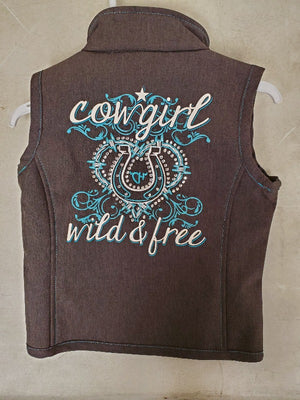 Cowgirl Hardware Teal Wild and Free bling vest