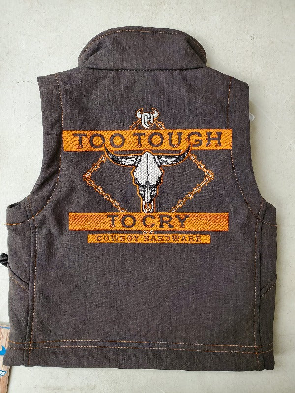 Cowboy Hardware Too Tough To Cry Softshell Vest, Brown Heather/Orange