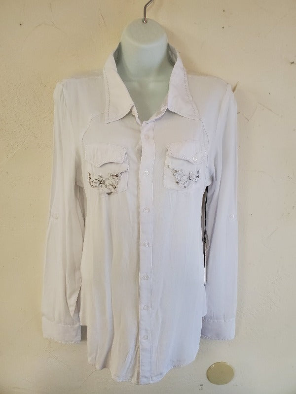 Grace In LA Embroidered Western Dress Shirt, White