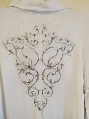 Grace In LA White Embroidered & Embellished Western Dress Shirt