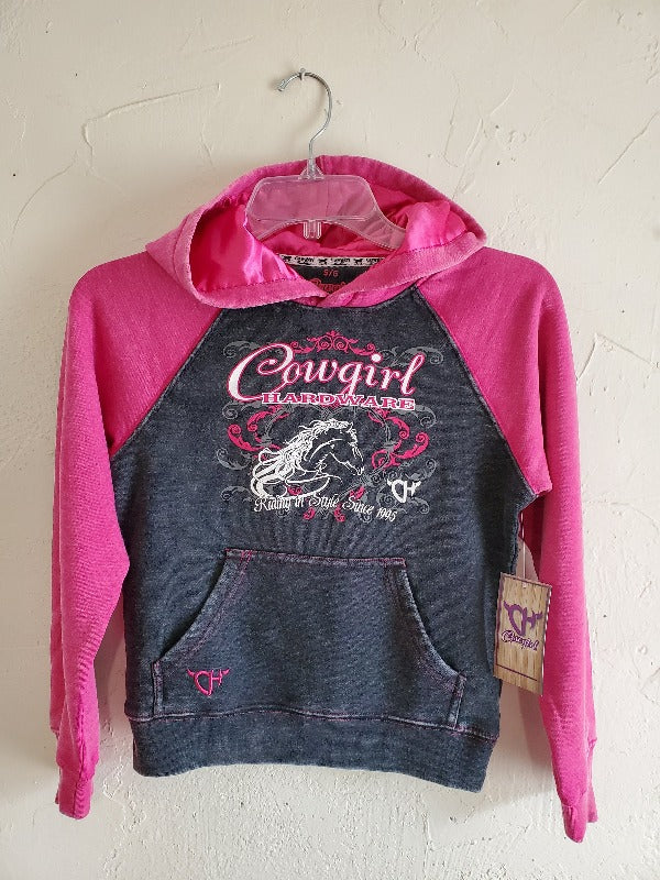 Cowgirl Hardware Riding In Style Hooded Sweatshirt, Pink