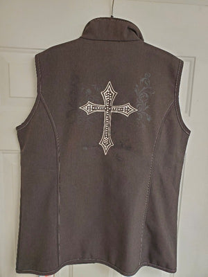 Cowgirl Hardware Soft Shell Vest with Swirl Cross Heather brown/Ivory