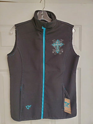 Cowgirl Hardware Soft Shell Vest with Swirl Cross, Black/Teal