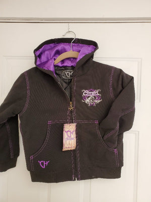 Girls Cowgirl Hardware Canvas Hooded Jacket- Purple/Black