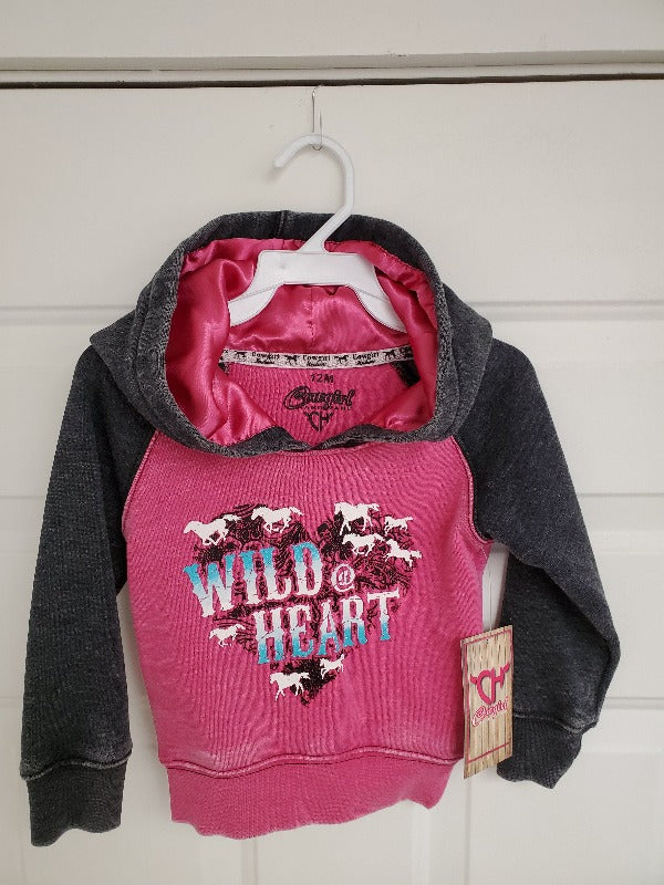 Cowgirl Hardware Girls Infant Wild at Heart Hoodie, Pink