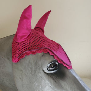 Crochet Ear Bonnet Fly Veil, Pink