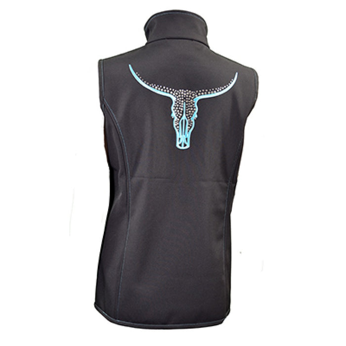 Cowgirl Hardware Soft Shell Vest with Lost Crystal Skull- Black/Teal