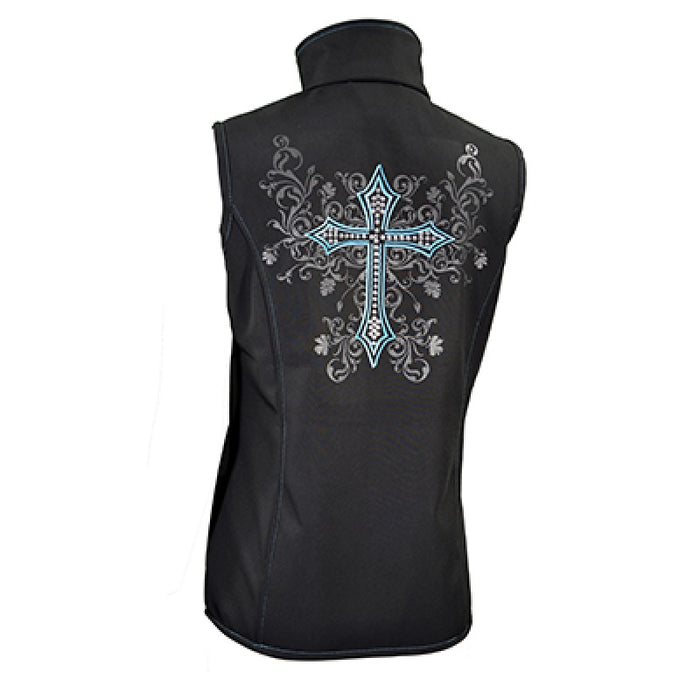 Cowgirl Hardware Soft Shell Vest with Swirl Cross Black/Teal