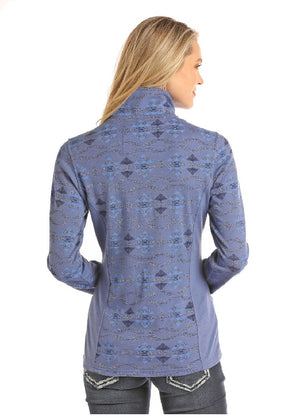 Powder River Aztec Print Long Sleeve 1/4 Zip Top- Blue