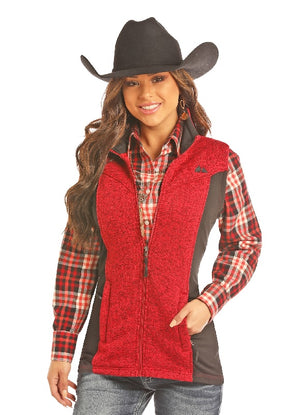 Powder River Outfitters Sweater Knit Fleece Vest, Red/Black