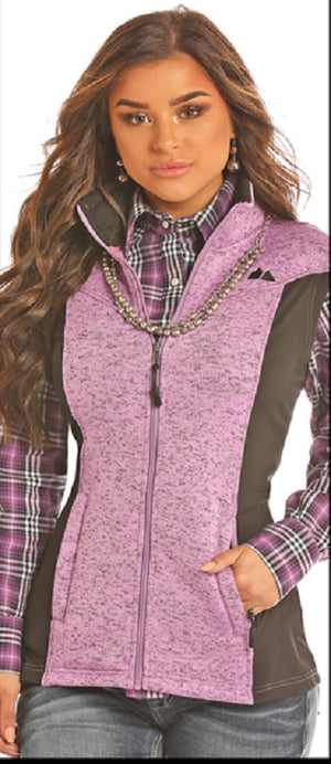 Powder River Outfitters Sweater Knit Fleece Vest- Lilac/Black