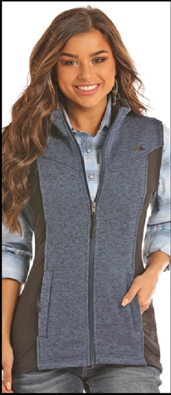 Powder River Outfitters Sweater Knit Fleece Vest- Denim Blue/Black