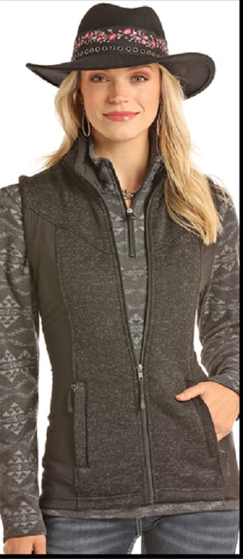 Powder River Outfitters Sweater Knit Fleece Vest- Black/Black