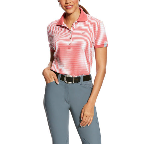 Ariat Prix Striped Polo- Frayed Red (XSMALL, SMALL ONLY)