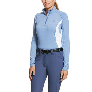 Ariat Tri Factor 1/4 Zip LS Sunstopper Baselayer, Blue Heather Stripe