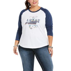 Ariat REAL Serape Rider Tee, White/Marine Blue