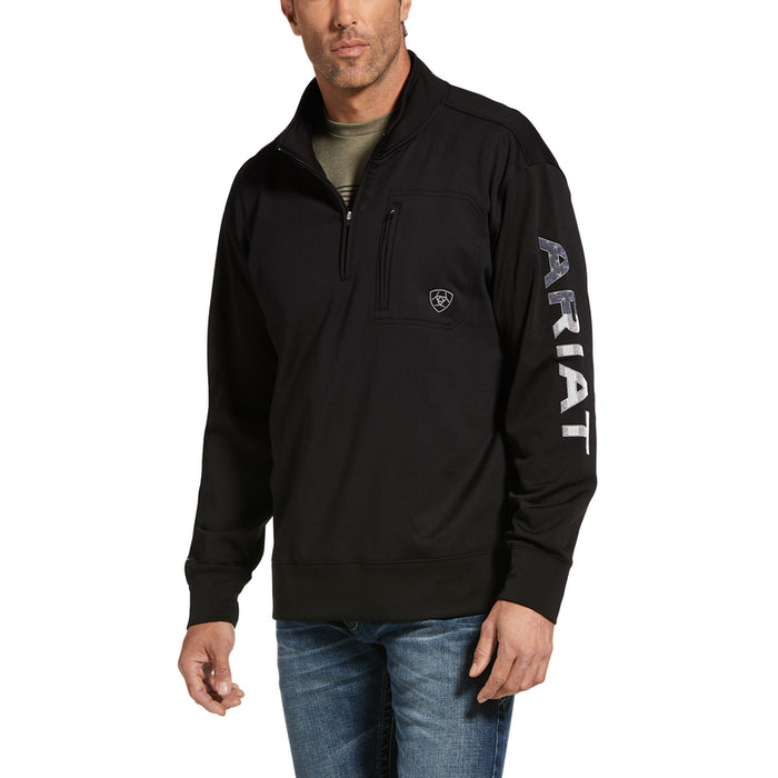 Ariat Mens Team Logo 1/4 Zip Top, Black