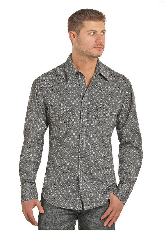 Rock & Roll Cowboy Long Sleeve Snap Shirt, Grey