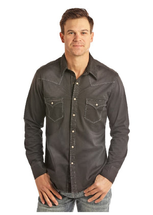 Rock & Roll Cowboy Long Sleeve Snap Shirt - Black