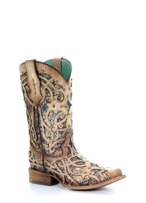 Woman's Corral Bone Inlay Western Boot - Square Toe