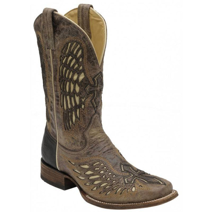 Corral Mens Wing and Cross Inlay Square Toe Boot, Tobacco