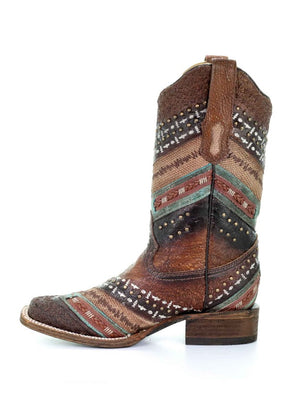 Corral Womens Turquoise Brown Embroidery and Studs